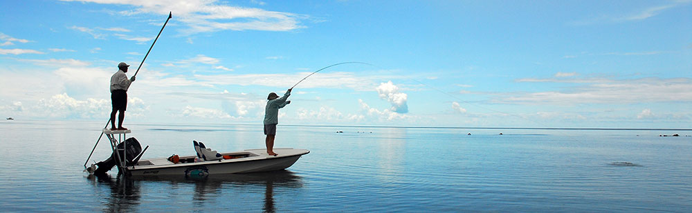 Fly fishing for bonefish in Belize at Turneffe Flats.