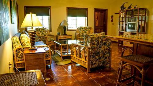 Share common area in the villa at Turneffe Flats fishing resort