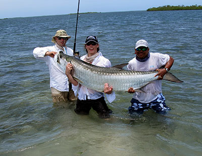 Big tarpon caught during a day fly fishing in Belize