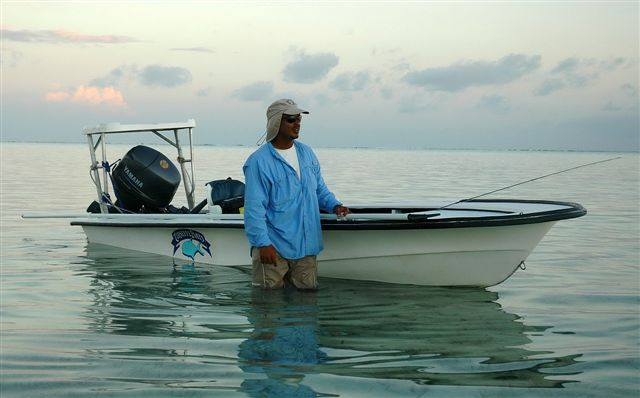 Fly Fishing boat for fishing for permit, tarpon, and bonefish in Belize.