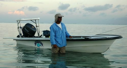 Fly Fishing skiffs for fishing for permit in Belize.