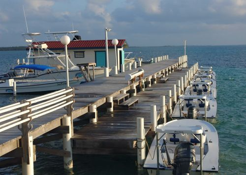 Fishing boats ready for a day of fishing for tarpon in Belize.