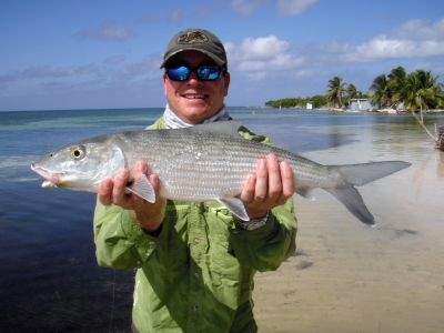 Fly Fishing for bonefish in Belize.