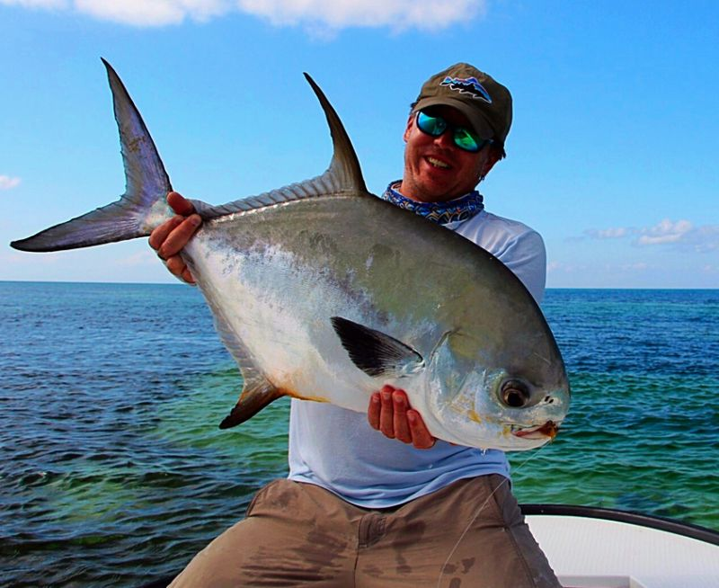 Permit caught while Fly Fishing for permit in Belize