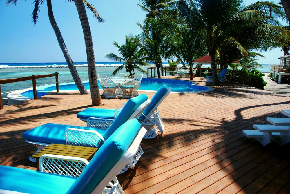 Infinity pool at Turneffe Flats, Belize eco tour, snorkeling and scuba diving lodge