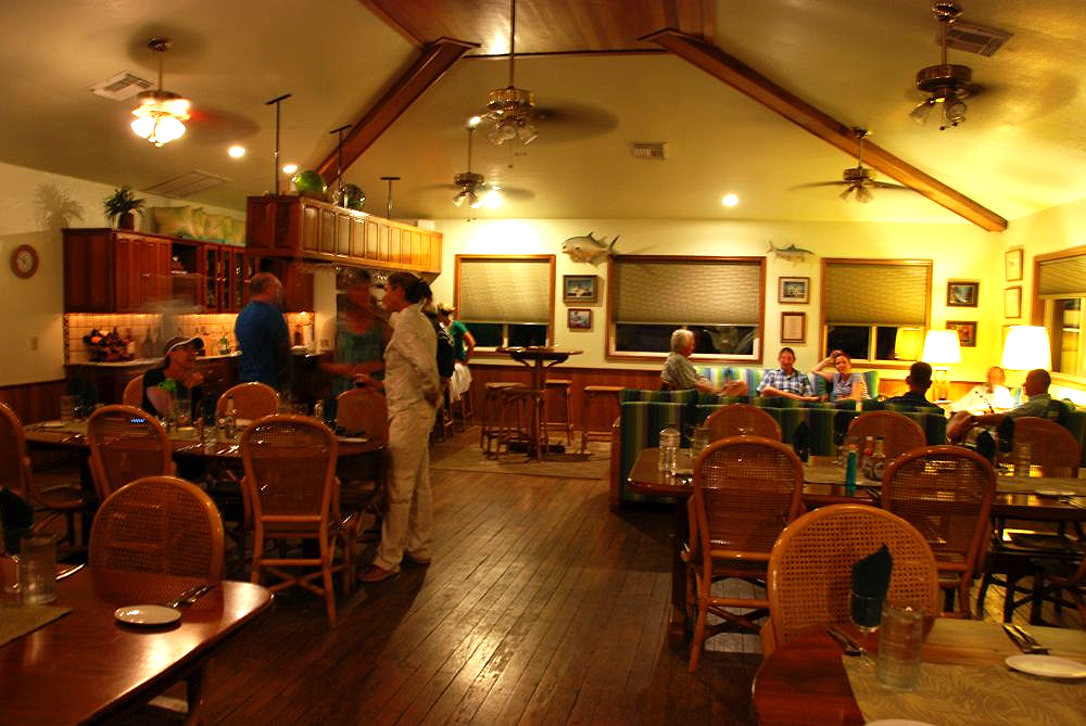 Scuba diving lodge in Belize, dining area and community room