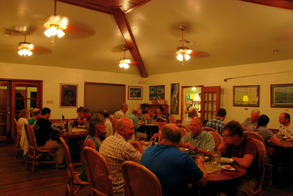 Dining room at Turneffe Flats, Belize's top fly fishing lodge, fishing for permit, bonefish, and tarpon.