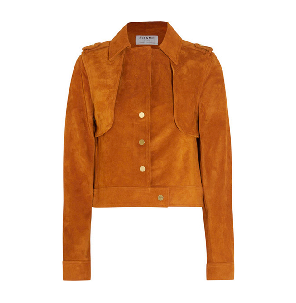 70'S SUEDE Fashion's obsession with the seventies plays out well with stunning suede jackets paired with a flowing feminine dress or a polished pencil skirt and strappy heels. Frame Denim Le Cropped jacket