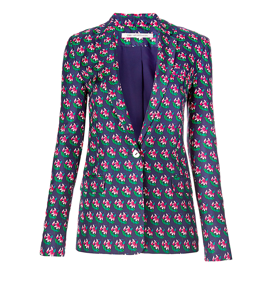 PRINTED BLAZER  Printed blazers with sharp shoulders topped the runways for Spring. A fantastic look layered over Summer whites paired with open toe sandals.  DVF Wesley printed silk blazer