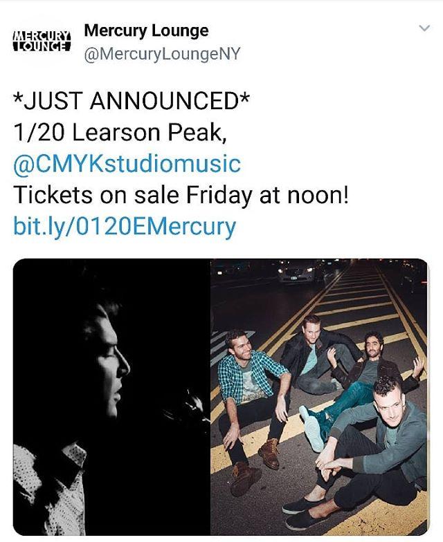 JUST ANNOUNCED: CMYK will return to @mercuryloungeny to support @learsonpeak on Sunday 1/20! Tix on sale this Friday! . . . . . . #cmyk #crandangular #livemusicnyc #livemusic #mercurylounge #mercuryloungenyc