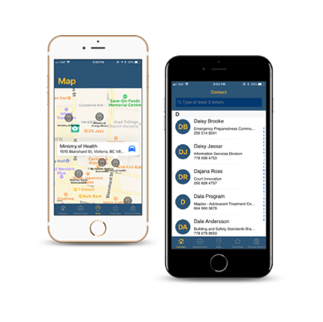 BC Government Directory Mobile Application mockups by FreshWorks