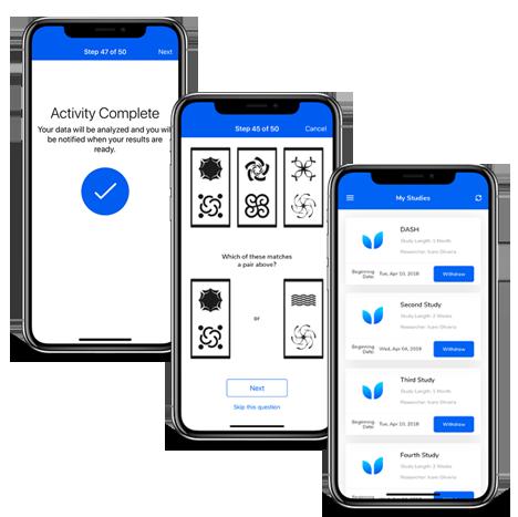 MyCogHealth mobile application mockups by FreshWorks Studio