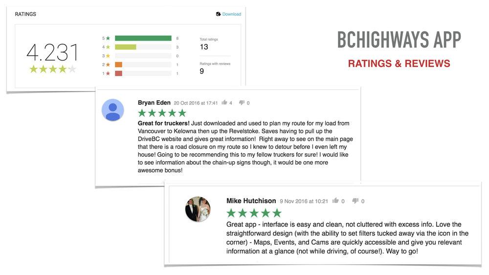 BC Highways App Reviews