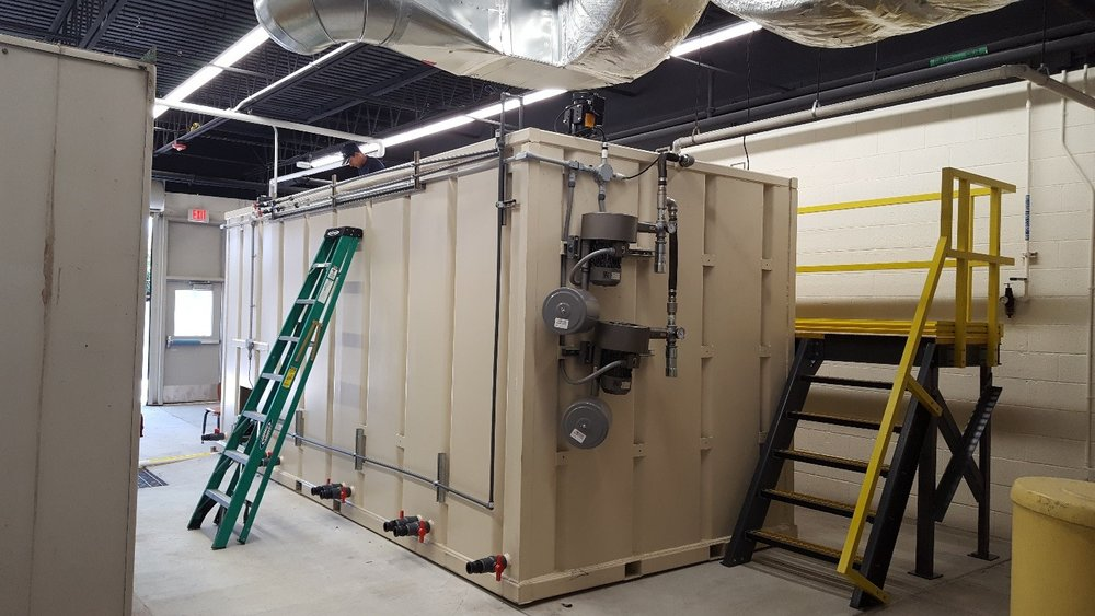 The AWS containerized system at NMSU is capable of treating up to 7,200 gpd.