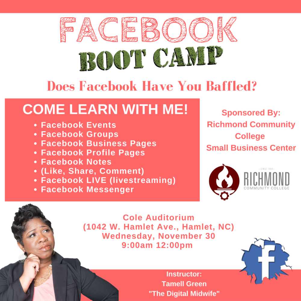 Richmond Community College Facebook Bootcamp Tamell Green