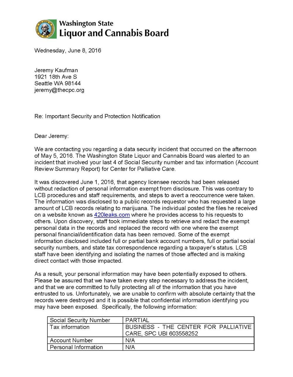 Washington Liquor and Cannabis board data breach letter to Jeremy Kaufman