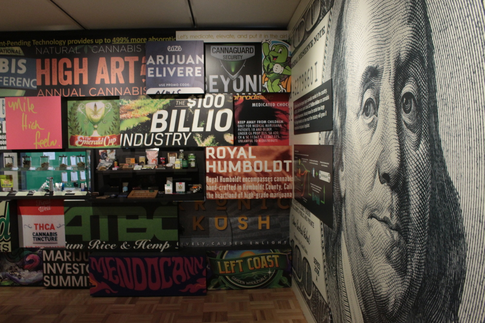 Cannabis advertising at Oakland museum of California altered states exhibit