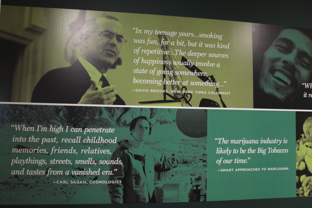 David Brooks quote, carl sagan quote, smart approaches to marijuana quote at Oakland museum