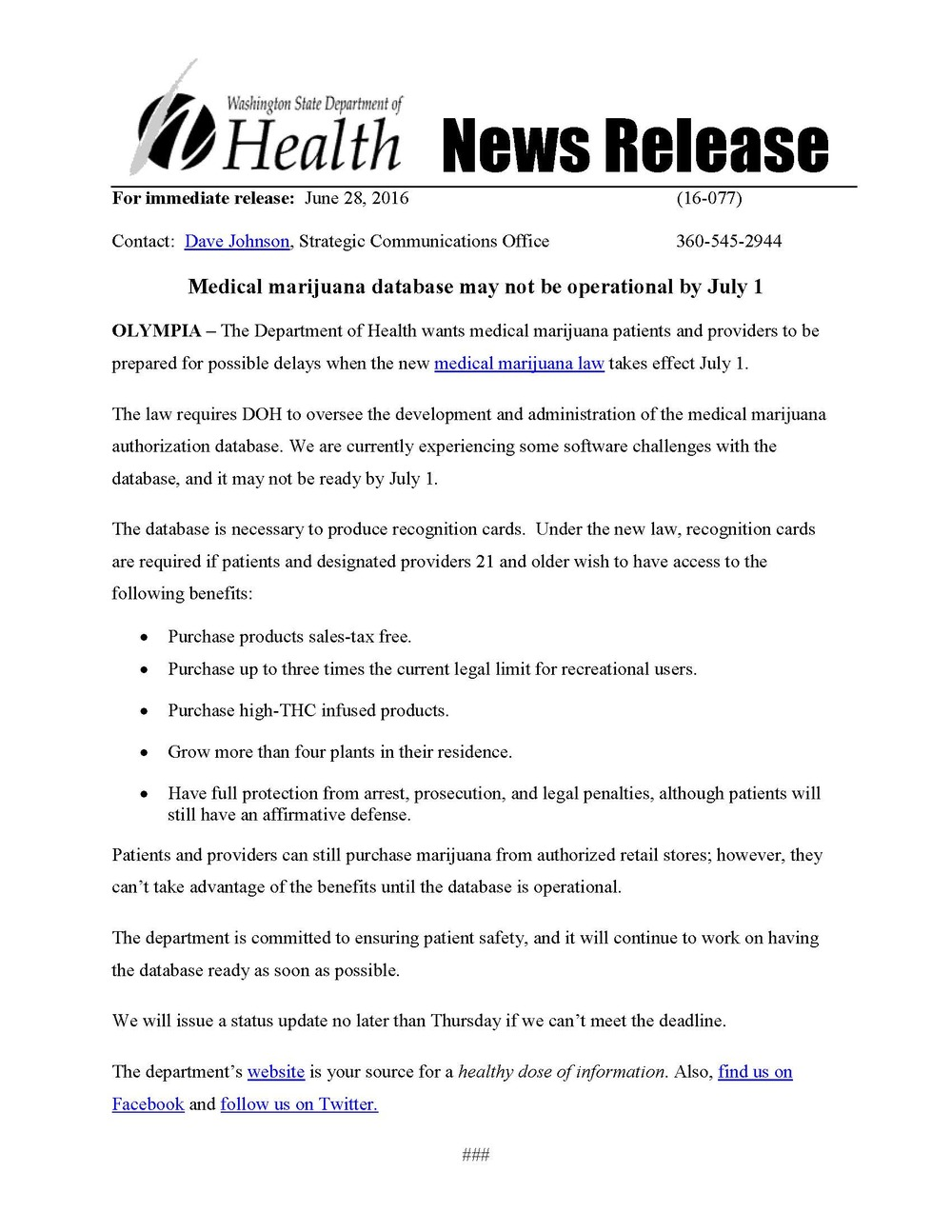 Washington Department of Health Medical Marijuana News Release
