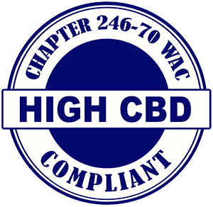 HIGH CBD marijuana compliant logo