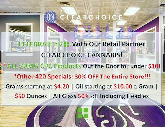 Celebrate 420 with our retail partner @clearchoicewa. They are having specials on CPC Products and other amazing specials! Go check them out! #tacoma #cannabissaves #cannabis #i502retail #i502 #health #wellness #weloveourpartners #amazingcannabis #amazing