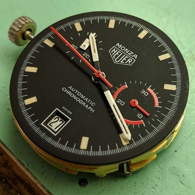 Heuer Monza in for a repair on the micro rotor.  #artdialwatch #whosyourwatchmaker #artdialwatchsouthfield #watchrepair #watchrepairdetroit #watchrepairmichigan #watchservice #watchservicedetroit #watchservicemichigan #watchmaker #horology #horologist #watchmovement #watchparts #watchnerd #heuer #monza #heuermonza