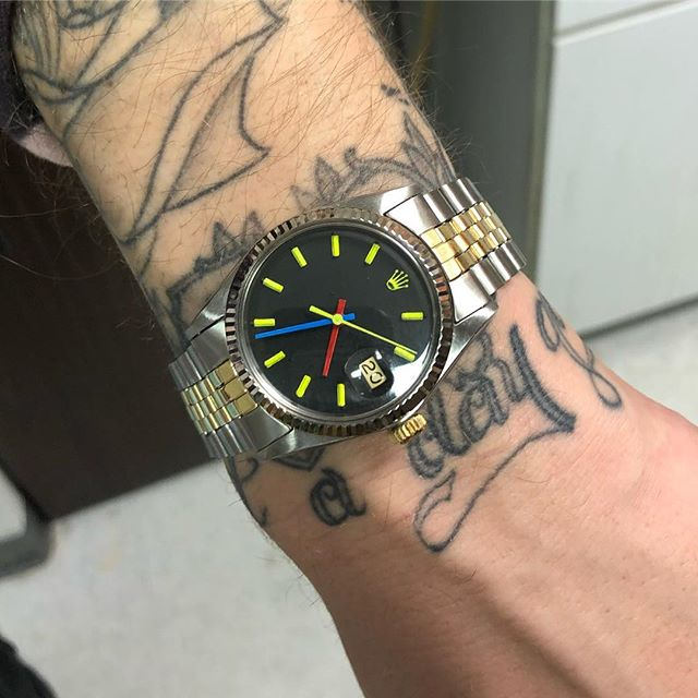 Custom painted #rolex #datejust for our good friend @elcappy #watchesofinstagram #artdialwatch #artdialwatchsouthfield #watchrepair #watchrepairmichigan