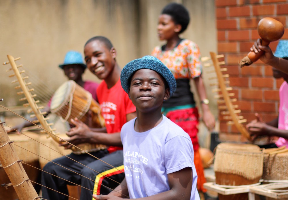 Traditional Ugandan music plays a special role at Bitone. Branco Sekalegga, Founder of Bitone, explains that traditional music does not isolate anybody. It is a language everybody is going to hear, understand and appreciate. (In this photo: Alex)