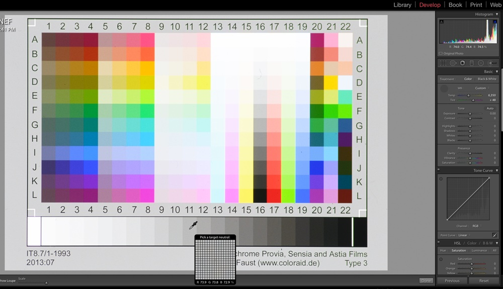 FIGURE 9 - White balance your IT8.7 on patch 11 and note the colour temperature.