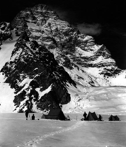 The Duke of Abruzzi eying the West Face of K2, they would eventually attempt the SSE Ridge, his namesake Spur.