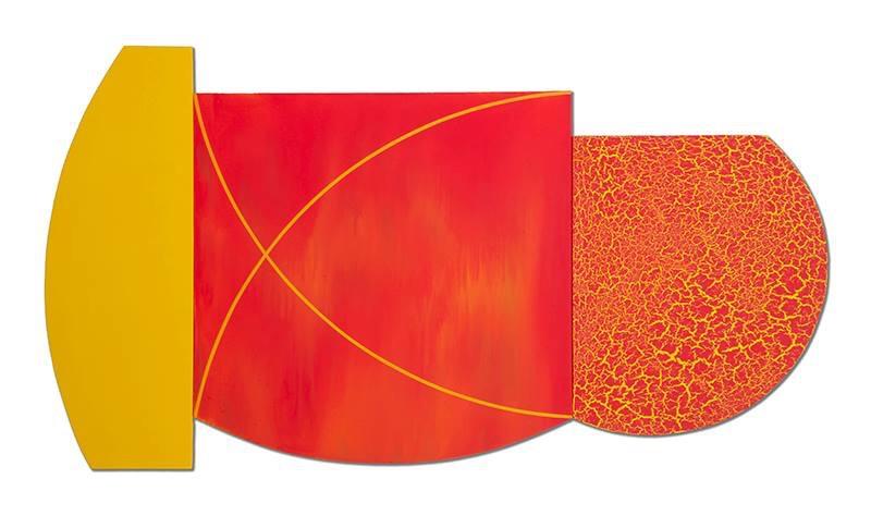 """Multiform 10, 2014, acrylic on panel, 36"""" x 65"""""""