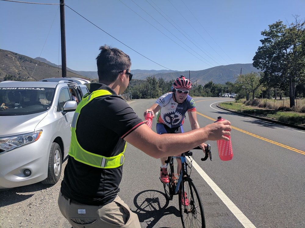 Day 1 - Afternoon Shift Update - June 13, 2017 - Tuesday. Andy started Race Across America this afternoon at 1:07 PT, a dream 10 years in the making. He started the day calm, but admittedly scared. The start of the race took him to the famed intimidating descent, the Glass Elevator. From there, he dropped into the desert floor into hot temperatures for a quick stop in Borrego Springs. He has been experiencing some mild cramping, but was in very good spirits. He said,