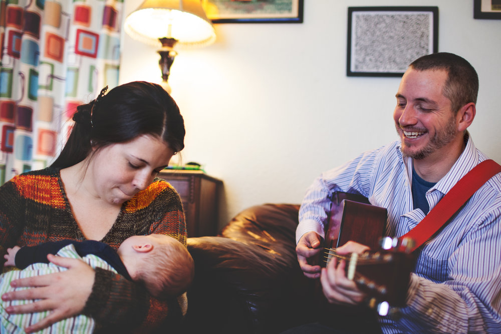 This family loves music, so of course dad playing the guitar was a perfect activity for them!