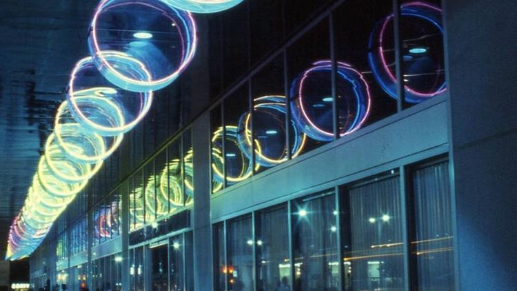 "Michael Hayden's light sculpture ""Generators of the Cylinder"" will be lighted again in downtown Los Angeles for the first time since 2008. (Courtesy of Michael Hayden)"
