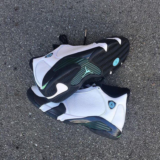 """The @jumpman23 Air Jordan Retro 14 """"oxidized green"""" returns tomorrow 7/16 at both locations. Stop by today to reserve your pair, no purchase necessary."""
