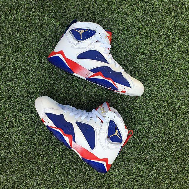 "The @jumpman23 Air Jordan Retro 7 Olympic ""Alternate"" releases tomorrow. Mens & gradeschool sizes available. (FCFS)"