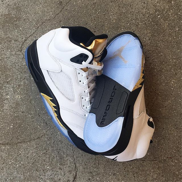 """The @jumpman23 Air Jordan 5 Retro """"Metallic Gold"""" is available Saturday 8/13. Stop by and RSVP your pair before Friday!"""