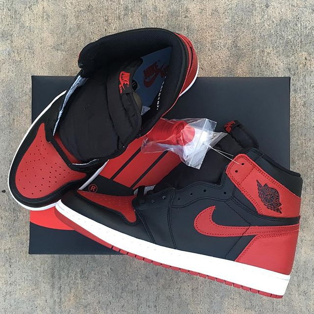 """The @jumpman23 Air Jordan Retro 1 OG """"Banned"""" releases 9/3 raffle only. Come in now till Saturday to pick up a raffle ticket. Raffle ends Saturday 8/27. Winners will pick up shoes on release date 9/3."""