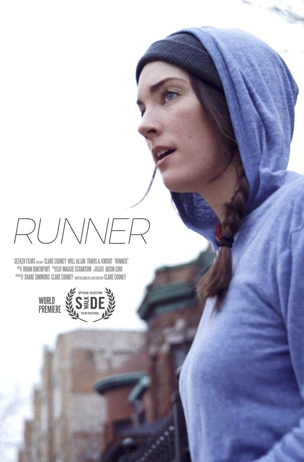Clare wrote, directed, edited, and starred in this award-winning short film.  RUNNER . Next playing at  The Chicago Critics Film Festival  on May 6th.