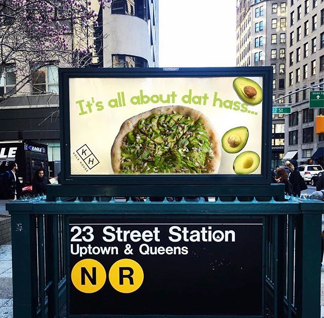 Your next stop 🚇 #Kolahouse  #AvocadoPizza 🥑available only on Mondays for our weekly Big Band Era dinner party and Fridays and Saturdays for our live performance nights 🙌 #newcampaign #sundayfunday  #DatHass #eeeeeats #eater #nyc #manhattan #madisonsquarepark #23rdstreet #eater #eeeeeats #eaterny #sundays #avocado #thehighline #chelseanyc