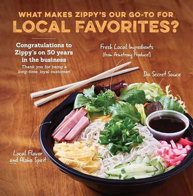 What's your favorite dish from Zippy's? Thank you & a big CONGRATULATIONS to our long time customer @zippys! 50 YEARS! Check out our ad from @honolulumag's October issue. #LocalMoBettah #hawaii #luckywelivehawaii #hawaiieats #zippys50th #somensalad #zippys