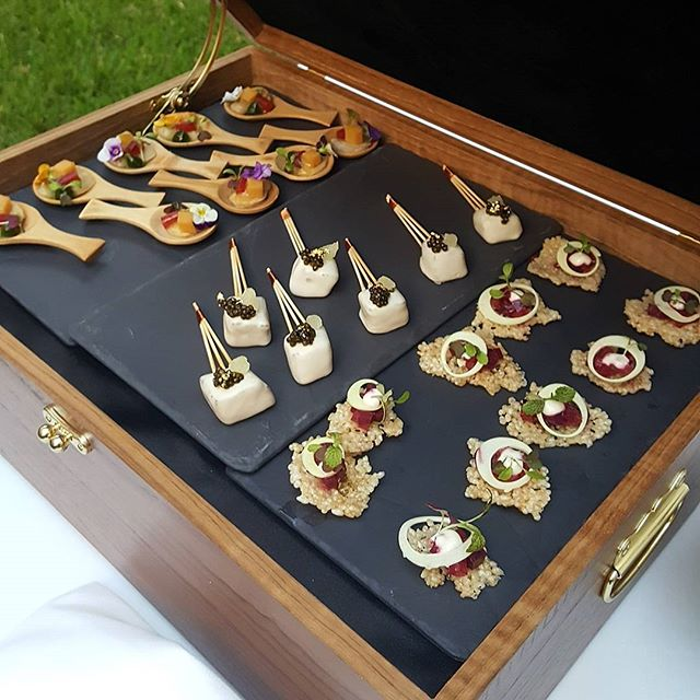 Jewel box of #pupus! #caviar, #abalone, #tuna, #tofu & #beets Ready to get the #eastmeetswest event started! #HFWF16 #proudsponsor #LocalMoBettah