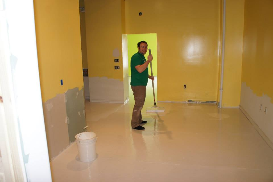 Errol is rolling epoxy floor
