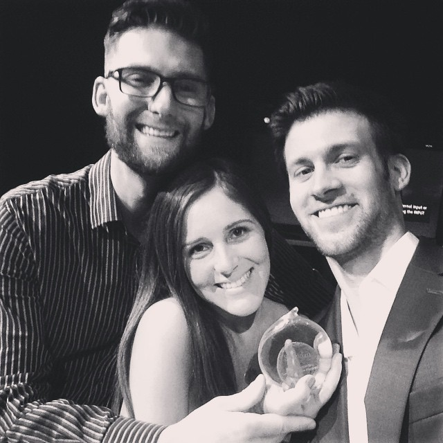 Pierce, Nick and I, after winning 'Best Documentary' at the Sheridan Journalism Awards