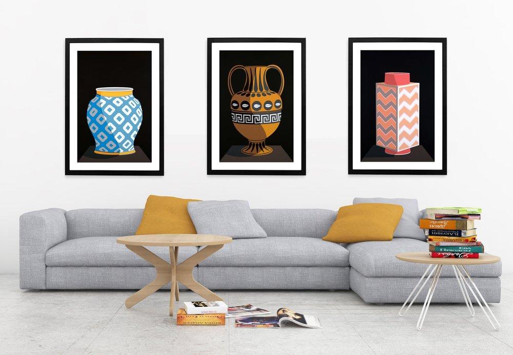 Vases - Blue & White Porcelain, Greek Urn, Cong