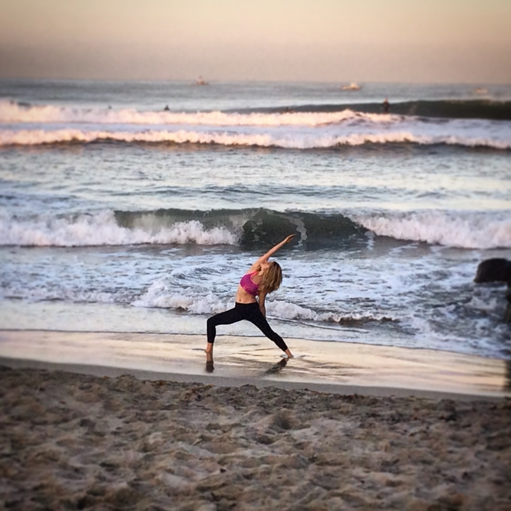 Sarah in Reverse Warrior Pose in Ocean Beach, CA Fall 2015