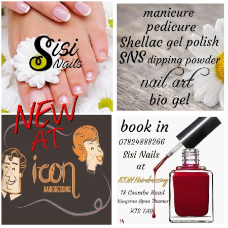 Sisi Nails at icon - icon now offers in salon customised care for your hands and feet.Csilla is a professionally trained and accredited nail technician specialising in manicure, pedicure, nail extensions and nail art.Please call Csilla direct on 07824 888266 to schedule an appointment.*Available from 22nd August at icon*