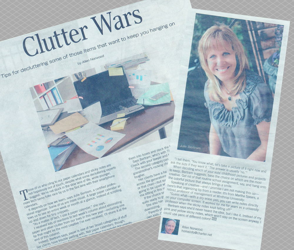 Our own Julie Kilian Bertram was featured in an article called 'Clutter Wars' in a special Home/Design feature of the The Charlotte Observer.