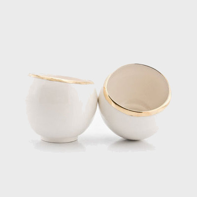 WHITE PORCELAIN HANDMADE CUP WITH GOLD TRIM