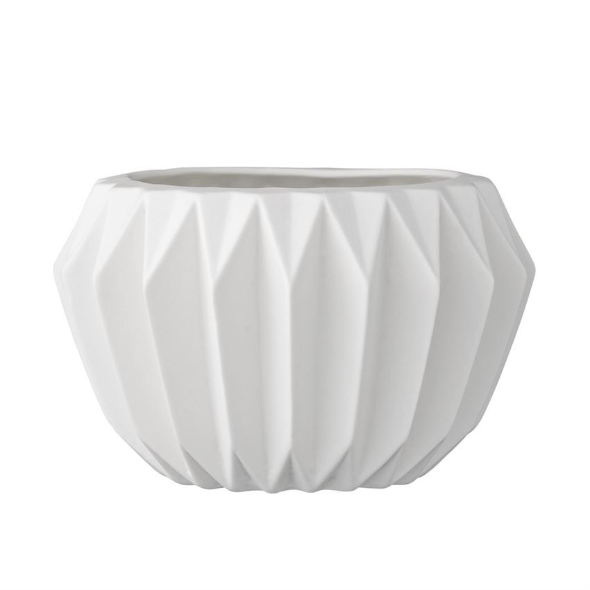 ROUND CERAMIC FLUTED FLOWER POT